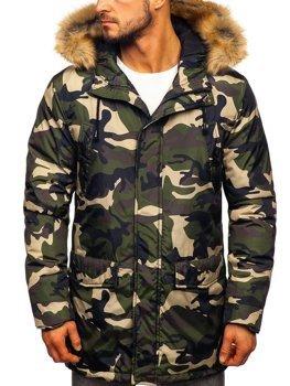 Мужская зимняя куртка парка камуфляж-зеленая Bolf 1968