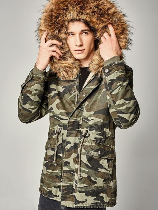 Мужская зимняя куртка парка камуфляж-зеленая Bolf B3707