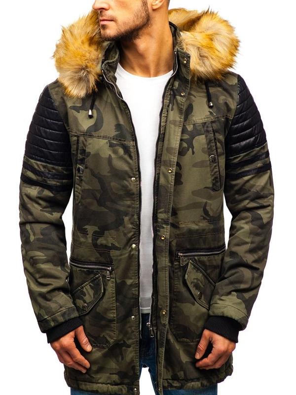 Мужская зимняя куртка парка камуфляж-хаки Bolf 88832