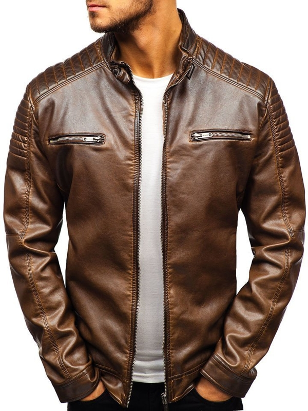 Мужская кожаная куртка коричневая Bolf ex805