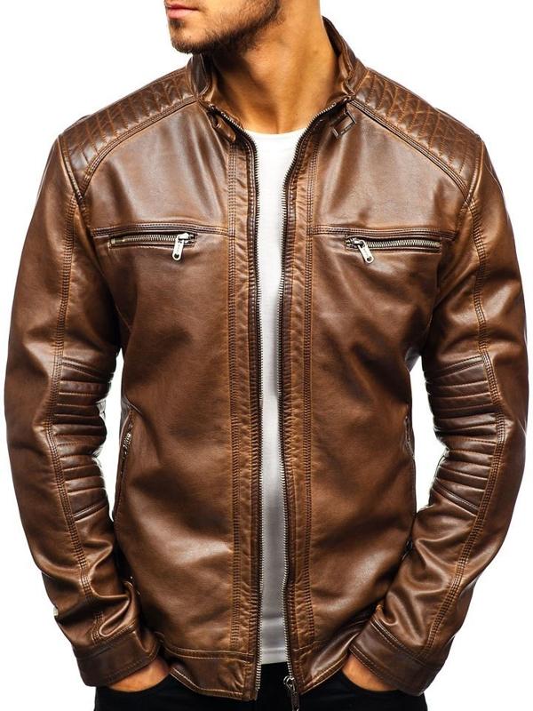 Мужская кожаная куртка коричневая Bolf ex807