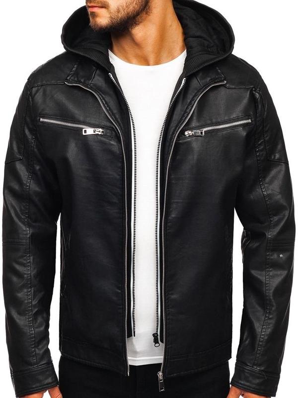 Мужская кожаная куртка с капюшоном черная Bolf 5809