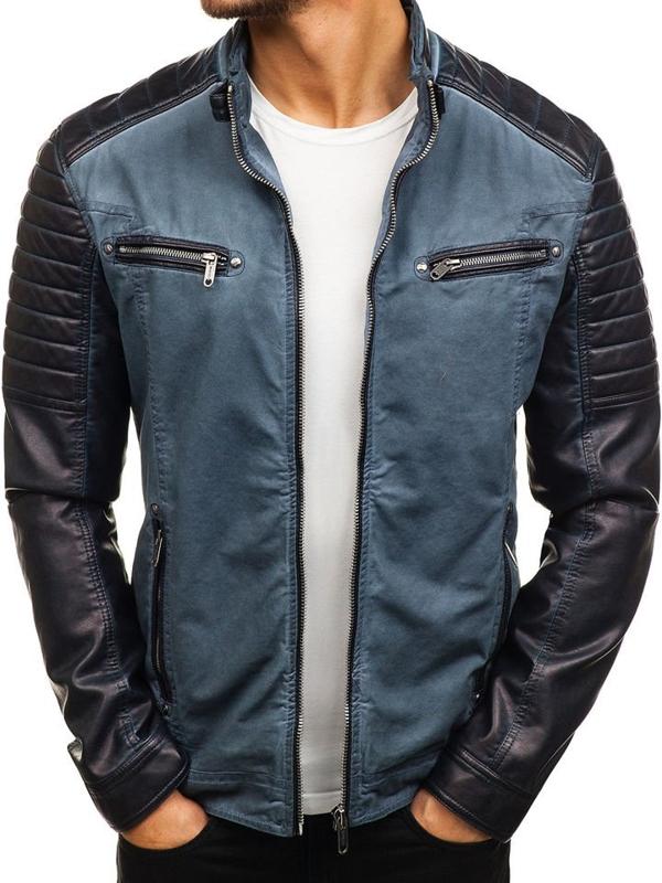 Мужская кожаная куртка темно-синяя Bolf ex809-A
