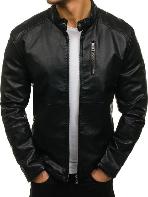 Мужская кожаная куртка черная Bolf 5009