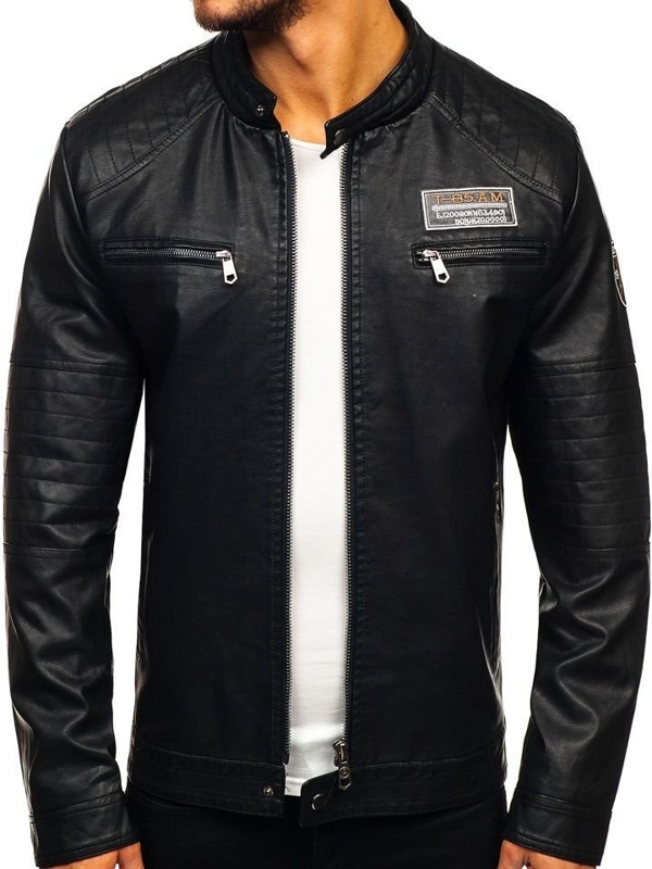 Мужская кожаная куртка черная Bolf 92580