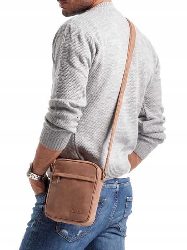 Мужская кожаная сумка светло-коричневая 2447
