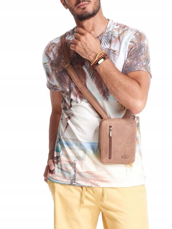 Мужская кожаная сумка светло-коричневая 2502