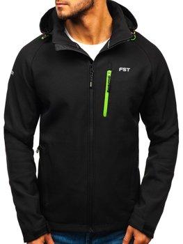 Мужская куртка софтшелл черно-зеленая Bolf 107A
