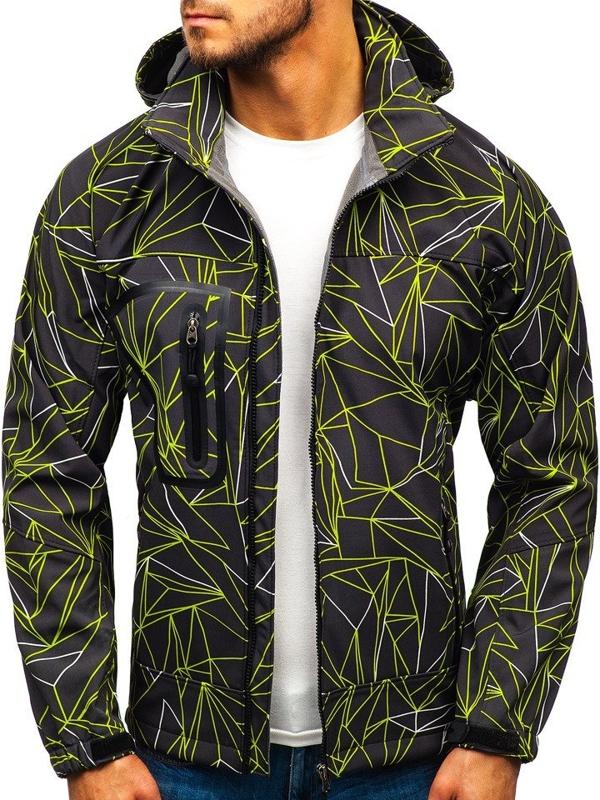 Мужская куртка софтшелл черно-зеленая Bolf T019T