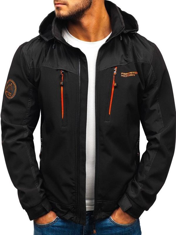 Мужская куртка софтшелл черно-оранжевая Bolf P185