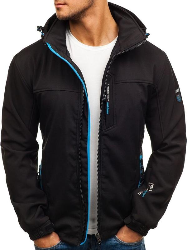 Мужская куртка софтшелл черно-синяя Bolf 5532