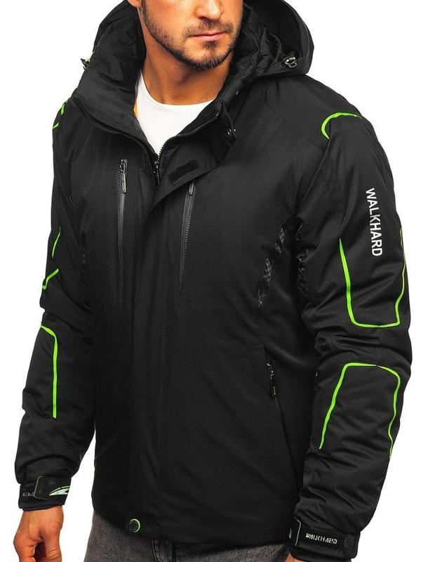 Мужская лыжная куртка черно-зеленая  Bolf A5625
