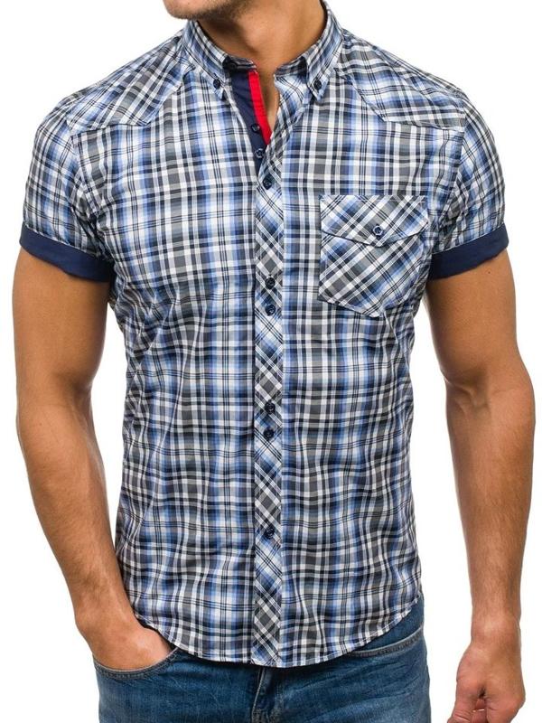 Мужская  рубашка в клетку с коротким рукавом черно-синяя Bolf 5206