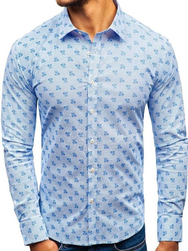 Мужская рубашка с узором с длинным рукавом бело-синяя 300G36