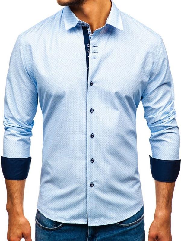 Мужская рубашка с узором с длинным рукавом бело-синяя Bolf 9703