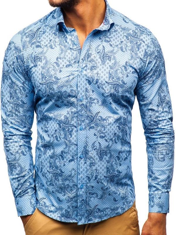 Мужская рубашка с узором с длинным рукавом синяя Bolf 200G63