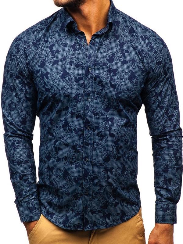 Мужская рубашка с узором с длинным рукавом темно-синяя Bolf 200G64