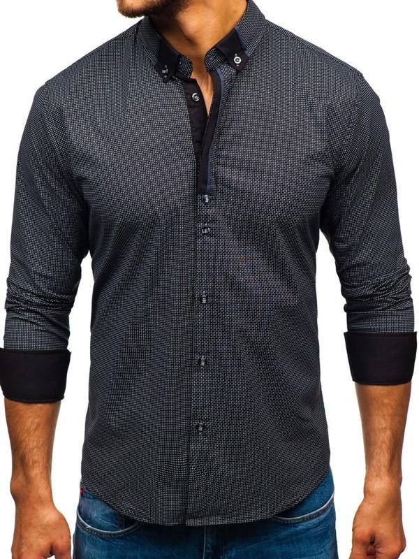 Мужская рубашка с узором с длинным рукавом черная Bolf 8844D