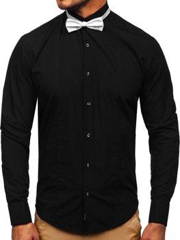 Мужская рубашка элегантная с длинным рукавом черная Bolf 4702-А галстук-бабочка+запонки