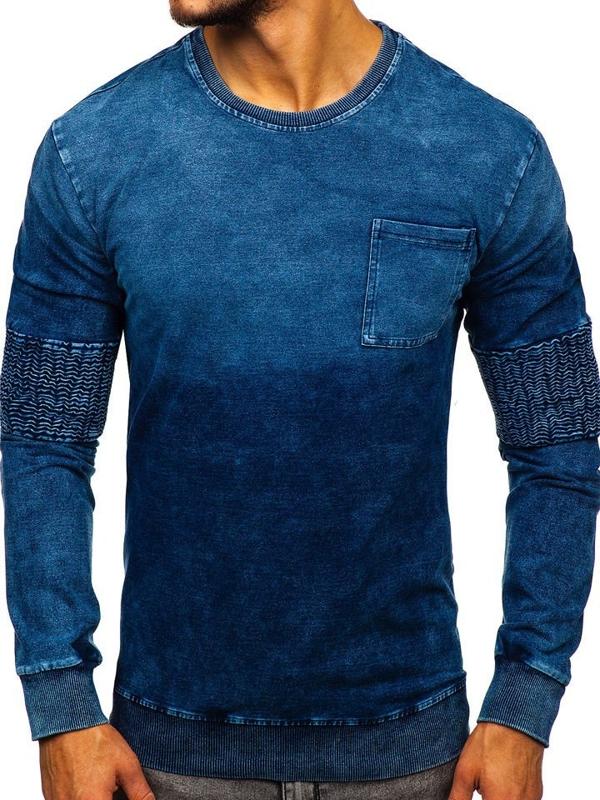 Мужская толстовка без капюшона синяя Bolf KK1029