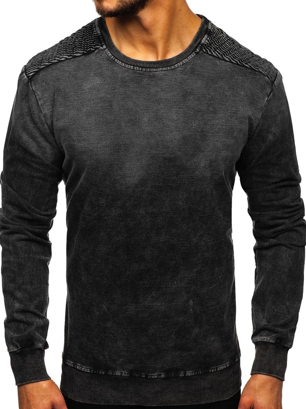 Мужская толстовка без капюшона черная Bolf KK1030