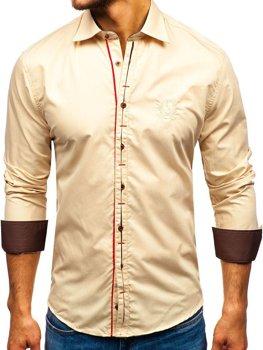 Мужская элегантная рубашка с длинным рукавом кэмел Bolf 1769