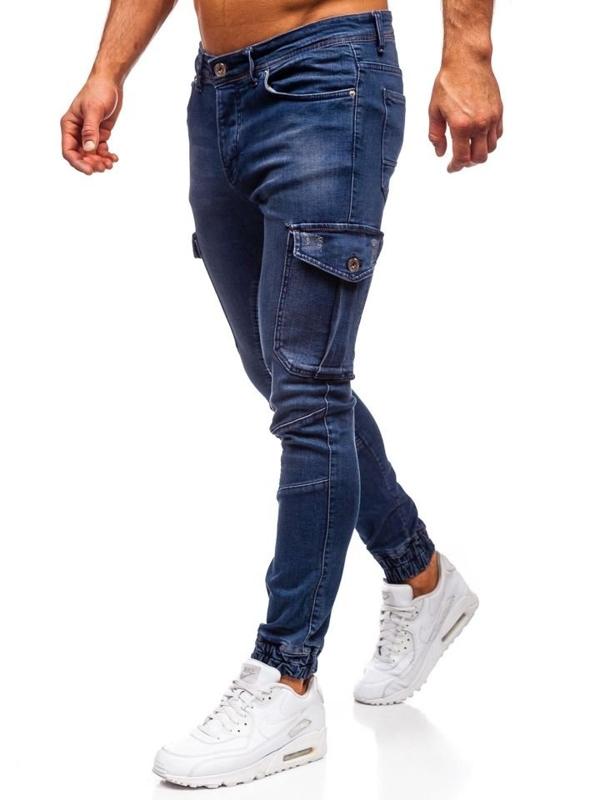 Мужские джинсовые брюки джоггеры темно-синие Bolf 1053