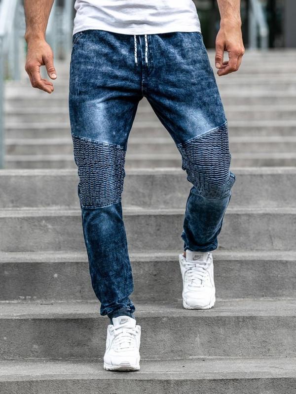 Мужские джинсовые брюки джоггеры темно-синие Bolf KK1023