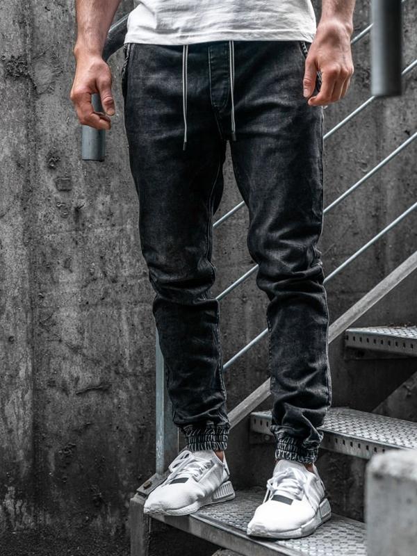 Мужские джинсовые брюки джоггеры черные Bolf  KA1078