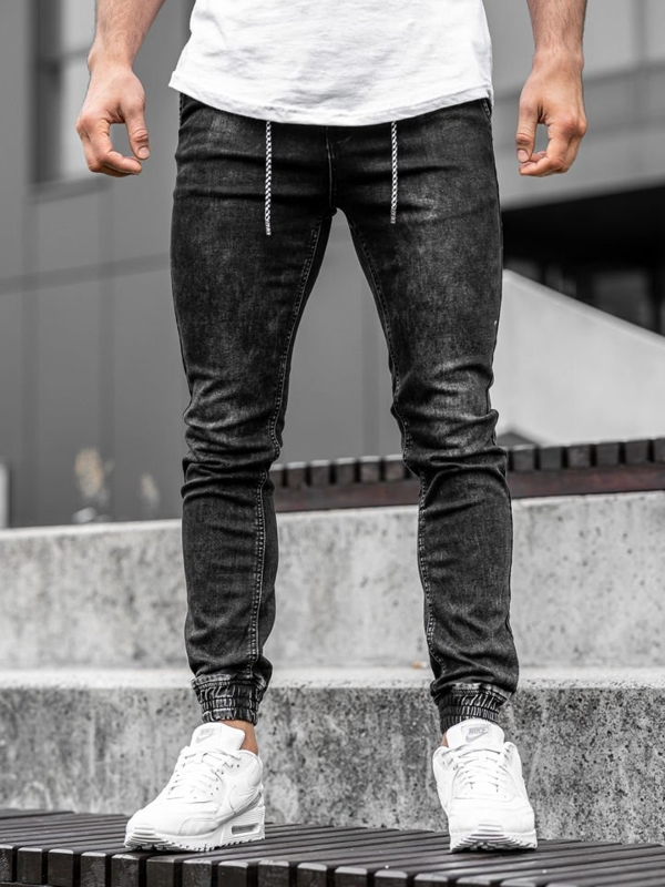 Мужские джинсовые брюки джоггеры черные Bolf  KA1278