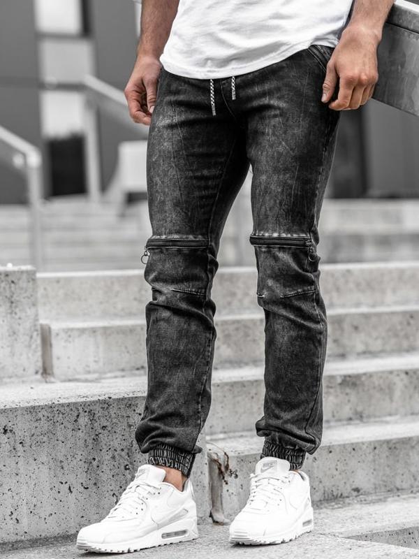 Мужские джинсовые брюки джоггеры черные Bolf  KA539
