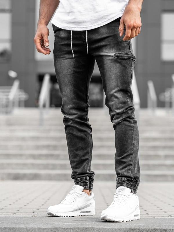 Мужские джинсовые брюки джоггеры черные Bolf  KA735