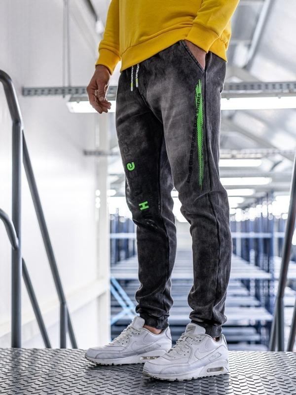 Мужские джинсовые брюки джоггеры черные Bolf KK1067