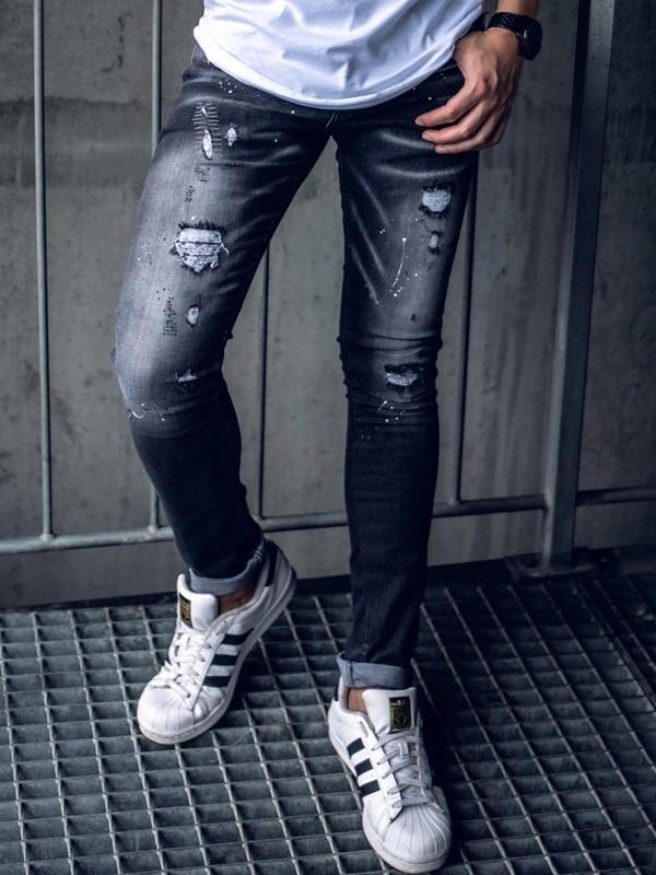 Мужские джинсовые брюки черные Bolf 9234
