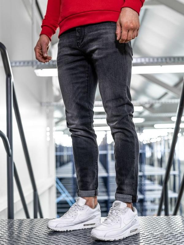 Мужские  джинсовые брюки slim fit черные Bolf KX311