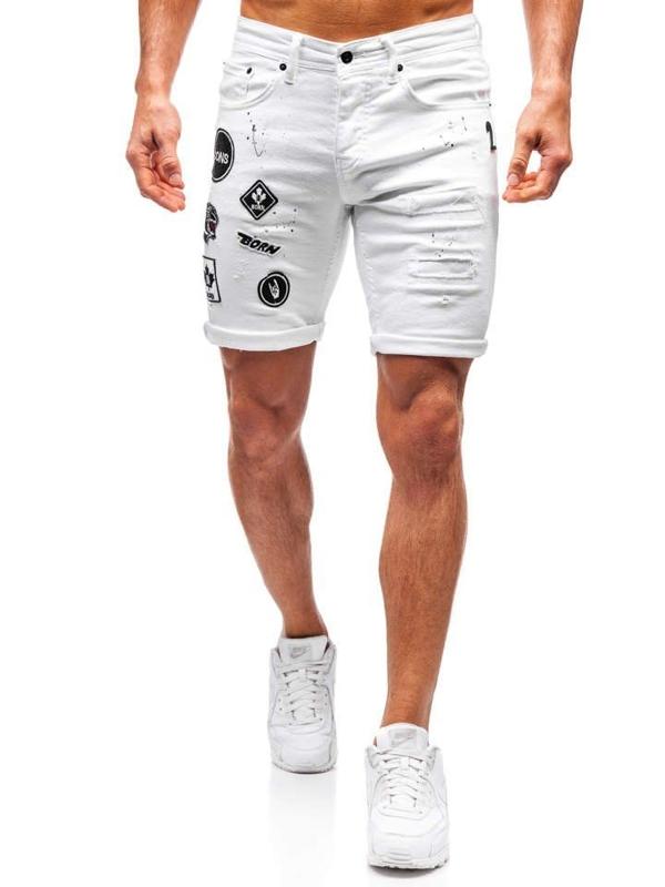 Мужские джинсовые шорты белые Bolf 3029
