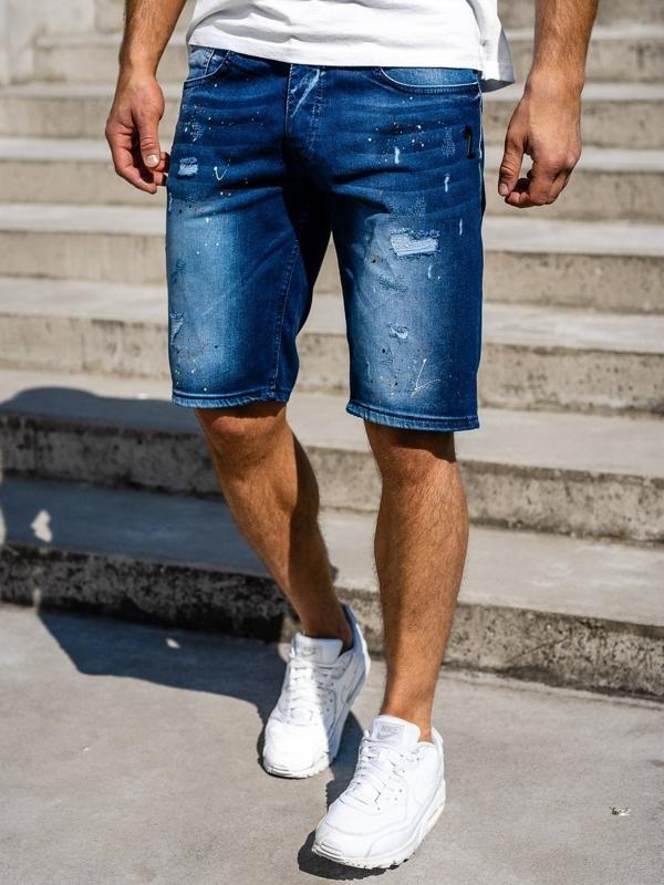 Мужские джинсовые шорты темно-синие Bolf 3001