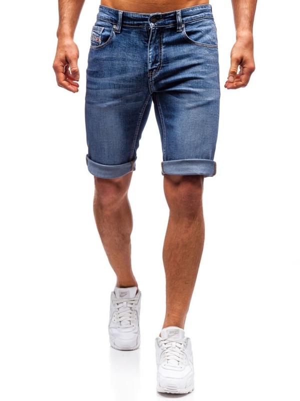 Мужские джинсовые шорты темно-синие Bolf 7784