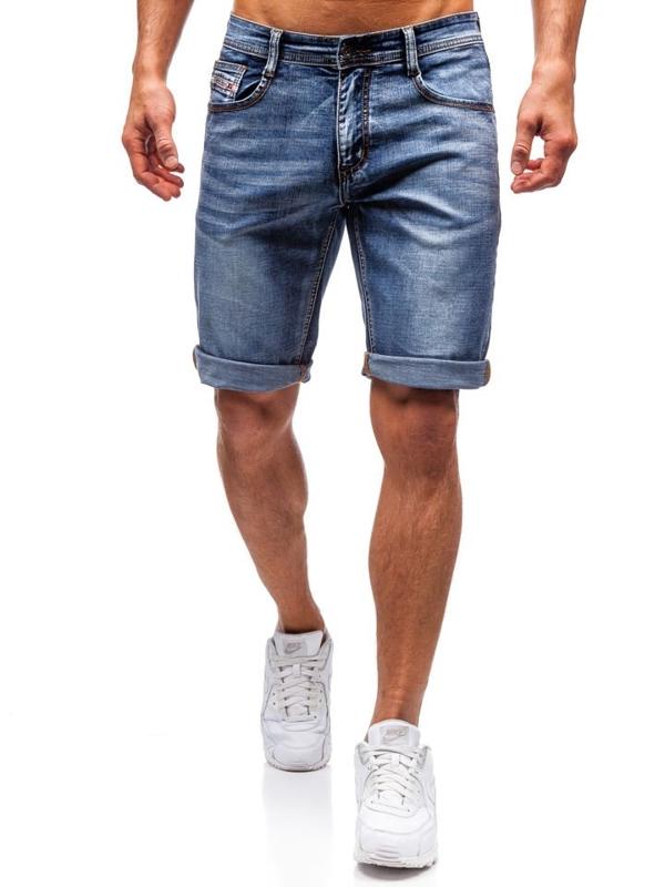 Мужские джинсовые шорты темно-синие Bolf 7787
