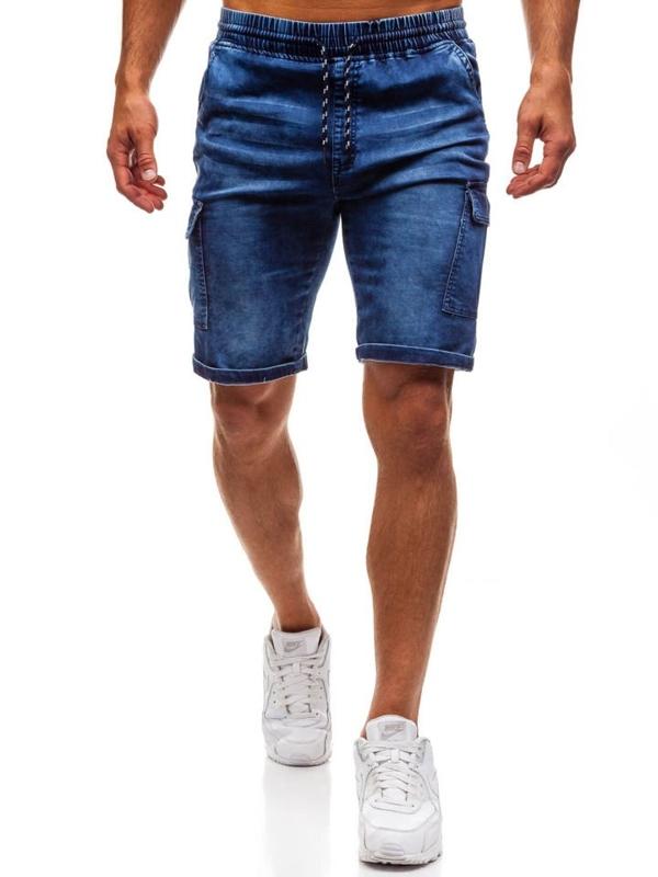 Мужские джинсовые шорты темно-синие Bolf HY191