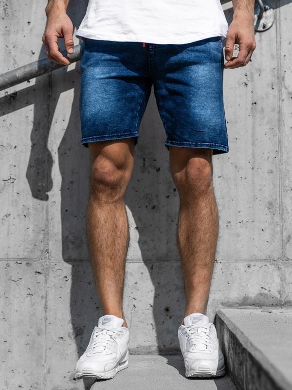 Мужские джинсовые шорты темно-синие Bolf KK109