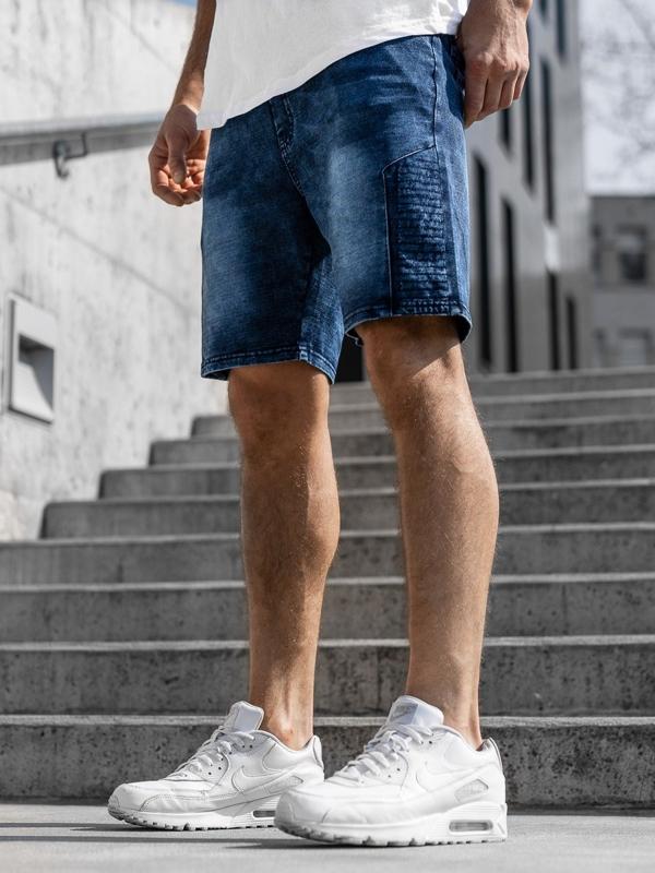 Мужские джинсовые шорты темно-синие Bolf kk110