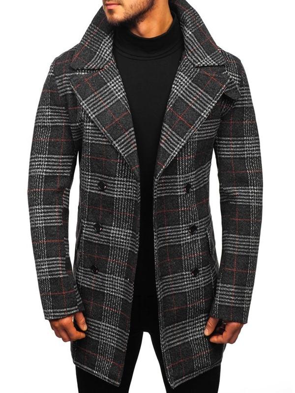 Мужское зимнее пальто черное Bolf 1116