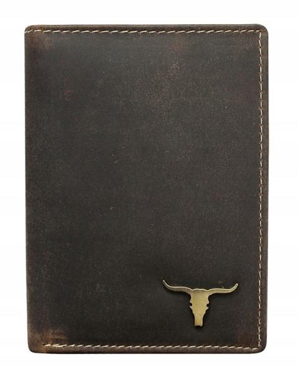Мужской кожаный кошелек коричневый 496