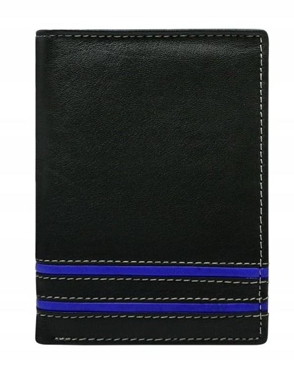 Мужской кожаный кошелек синий 599