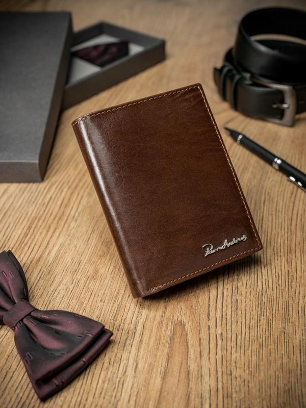 Мужской кошелек кожаный коричневый 1678