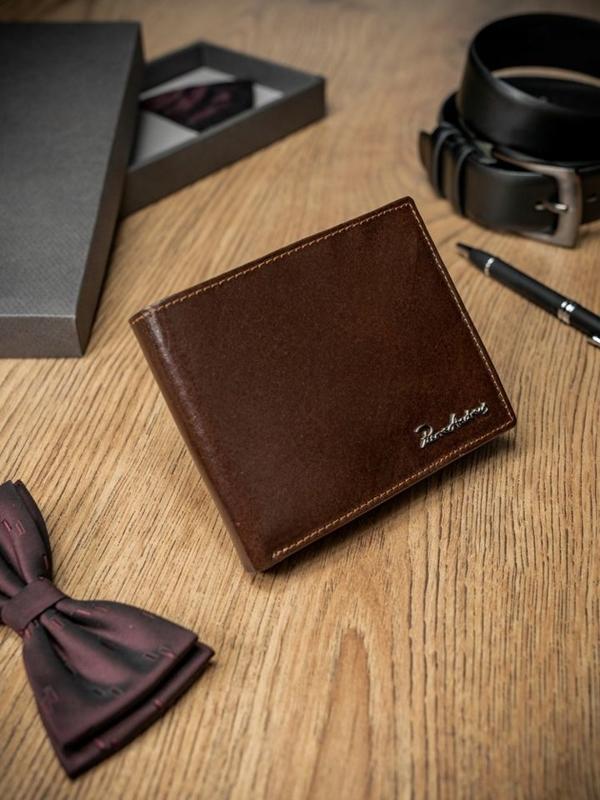 Мужской кошелек кожаный коричневый 1686