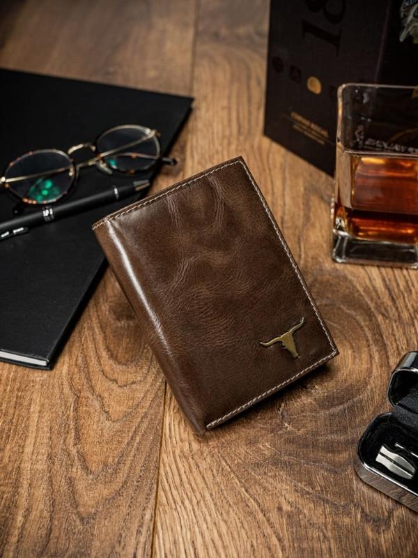 Мужской кошелек кожаный коричневый 64
