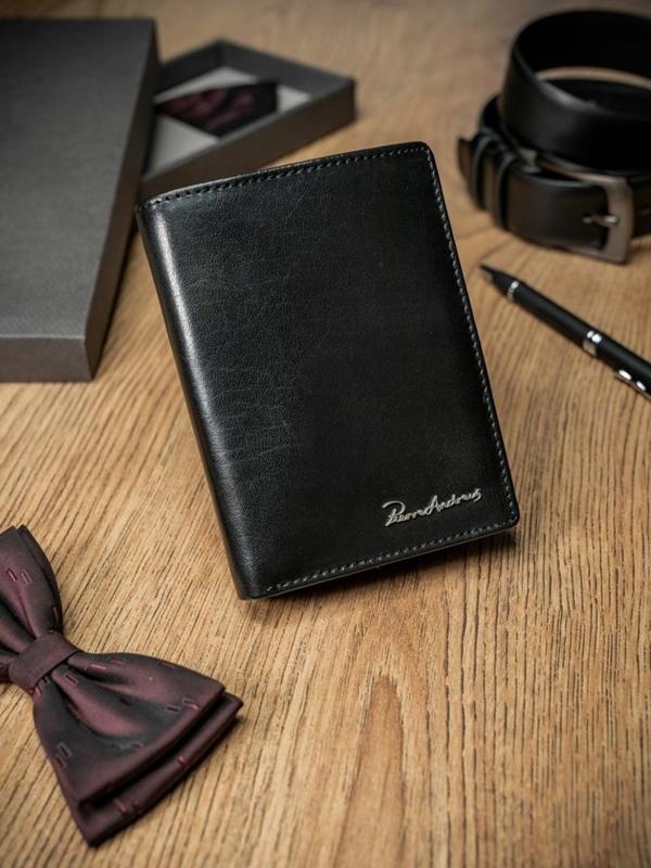 Мужской кошелек кожаный черный 1667
