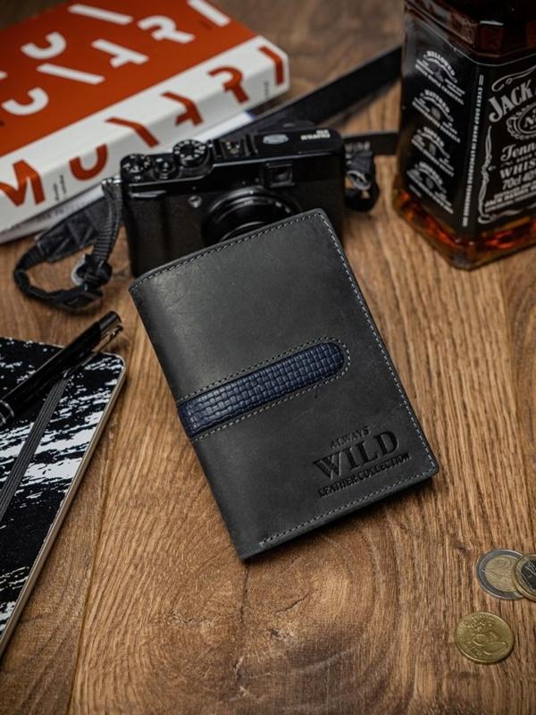 Мужской кошелек кожаный черный 2038